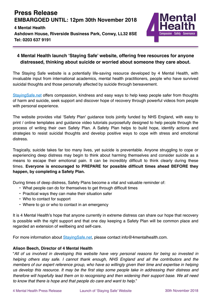 Staying Safe press release page 1